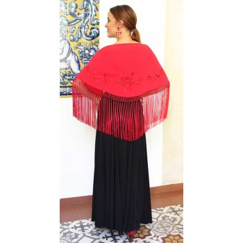 Red Embroidered Shawl with...