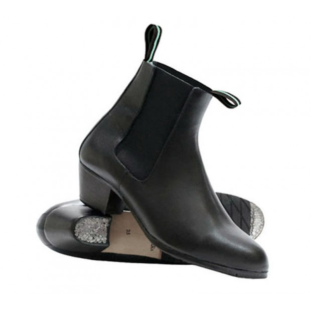 Black Leather Flamenco Boot...