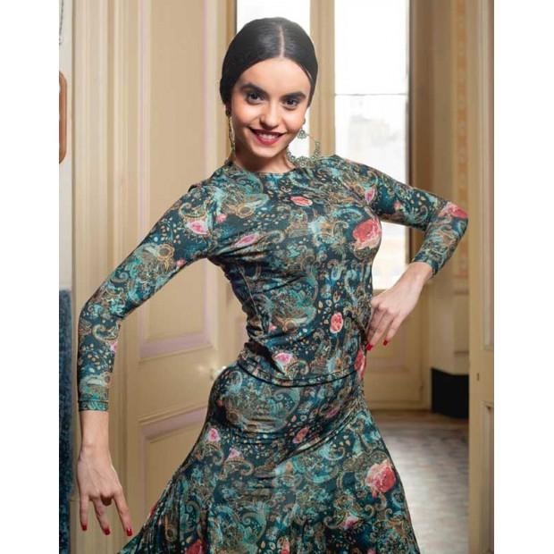 Green Print Flamenco Berre Top