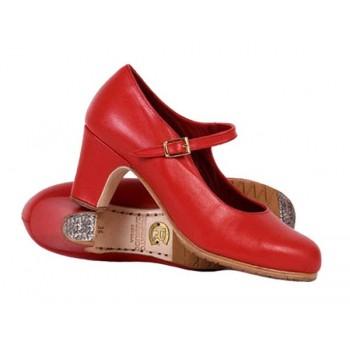 Zapato baile flamenco profesional piel rojo con hebilla