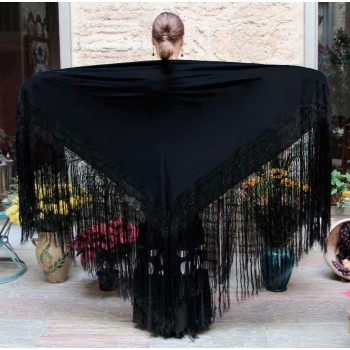 Manton Noir Lisse 140 cm.