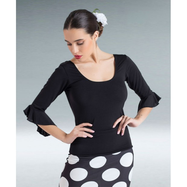 Black Lycra Knit Flamenco Top