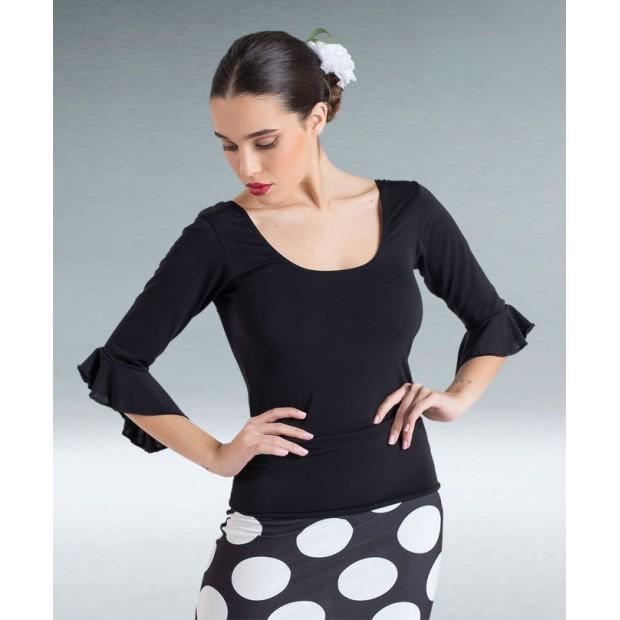 Top Flamenco Punto Licra Negro