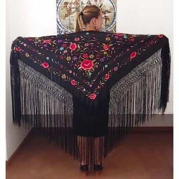 Black Silk Hand Embroidered...