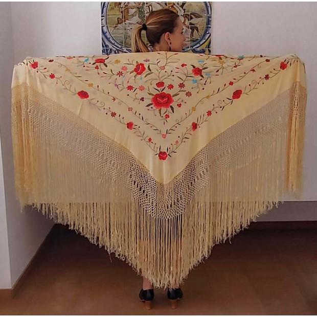 Beige Silk Hand Embroidered...