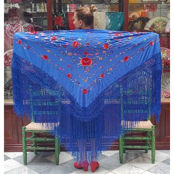Blue Silk Hand Embroidered...