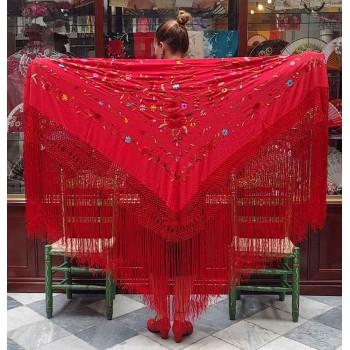 Mantón Seda Rojo Bordado...