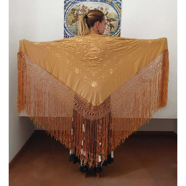Tan Shawl Hand Embroidered...