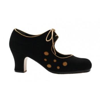 Zapato profesional ante negro y lunares ante amarillo con cordones