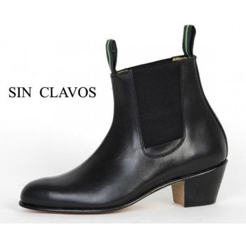 Cuban Black Leather Heel Boot 35/46