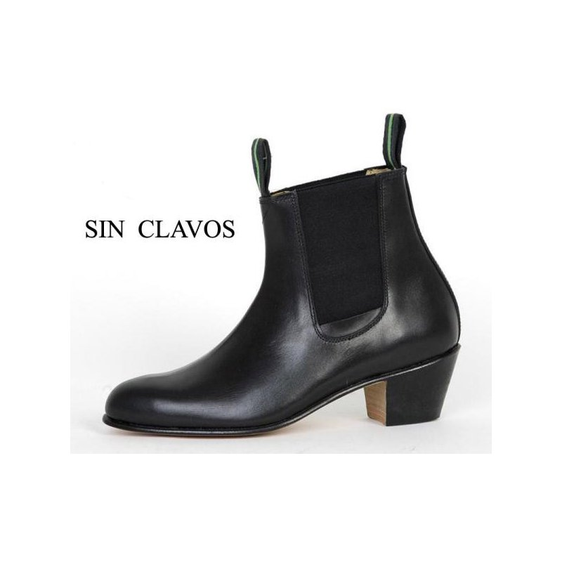 Cuban Black Leather Heel Boot 35 46