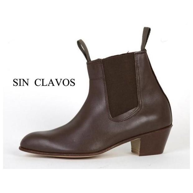 Cuban Brown Leather Heel Boot 35/46