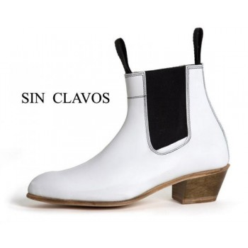 Cuban White Leather Heel Boot 35/46
