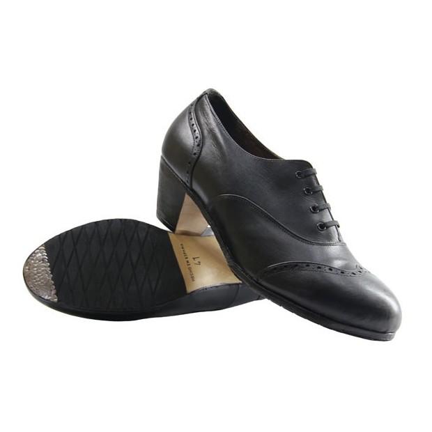 Flamenco Shoes Semiprofesional Black Leather Pala Vega