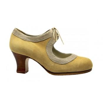 Zapato profesional ante beige y fantasía con cordones