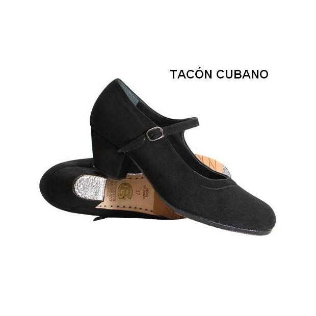 Zapato profesional ante negro con hebilla y tacón cubano