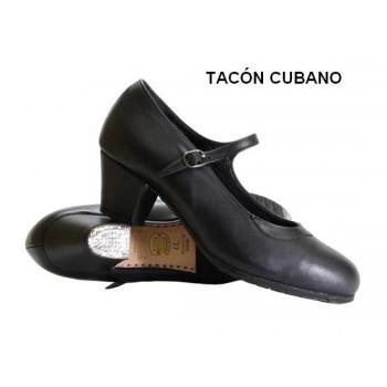 Zapato profesional piel negro con hebilla y tacón cubano