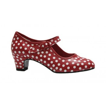Flamenco Shoe leatherette in red  with white Polka Dot