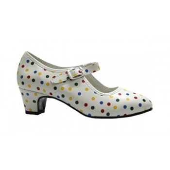 Flamenco Leatherette Shoe White and Multicolor Polka Dot
