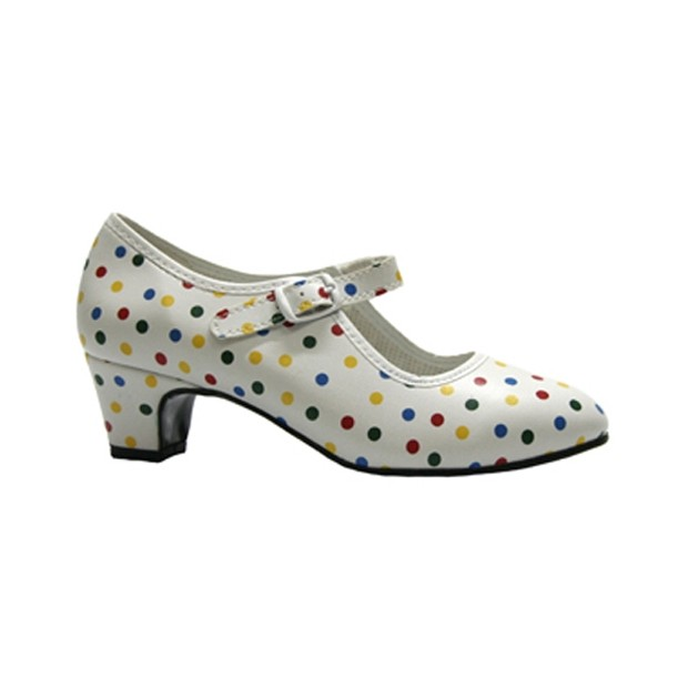 Flamenco Shoes in White Polyester with Multicolor Polka Dots