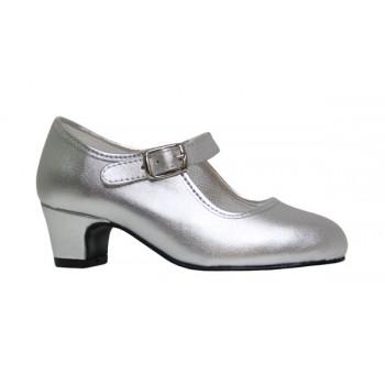 Leatherette Silver Flamenco Shoes