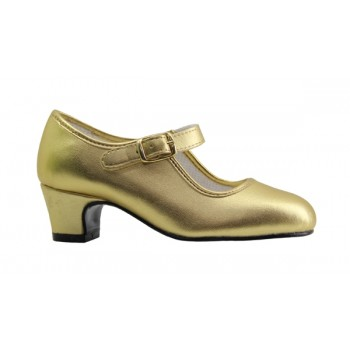 Flamenco Shoe Gold Leatherette