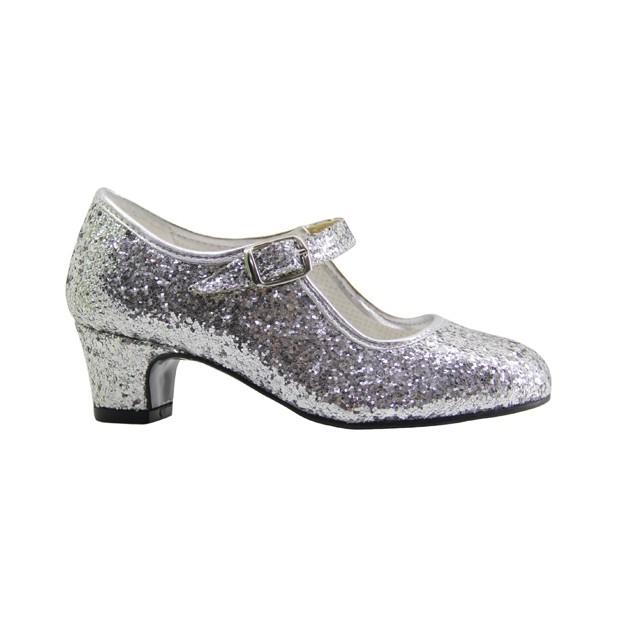 Silver Glitter Flamenco Shoe