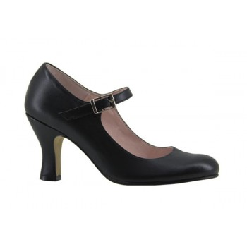 Black Leather Flamenco Shoe