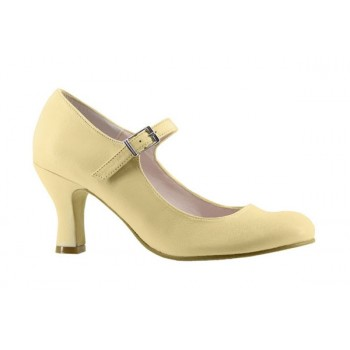 Beige Leather Flamenco Shoe
