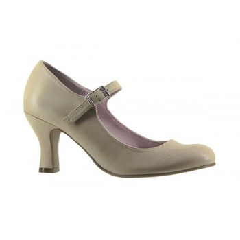 Leather Flamenco Shoe Taupe