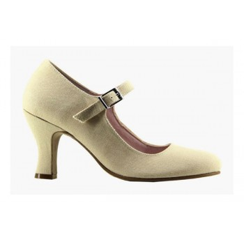 Beige Canvas Flamenco Shoe