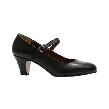 Black Leather Flamenca Shoe